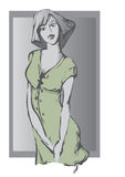 Das Mädchen im Grau Stockbild