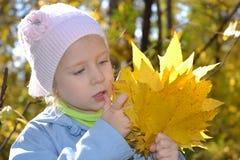 Das Mädchen im Herbstpark stockfoto