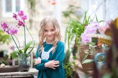 Das Mädchen im Orchideengewächshaus wird mit Blumen und Steinen gespielt Mädchen mit blühenden Orchideen hält Steine stockfotos