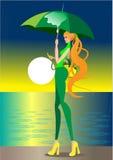 Das Mädchen im Regen lizenzfreie abbildung