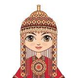 Das Mädchen im turkmenischen Kleid Historische Kleidung Lizenzfreie Stockbilder