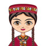 Das Mädchen im turkmenischen Kleid Porträt avatara Stockbilder
