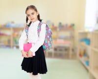 Das Mädchen ist ein Schulmädchen mit einem Buch in ihren Händen Lizenzfreie Stockfotos