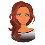 Das Mädchen ist reizend avatara Dunkles Haar karikatur stock abbildung