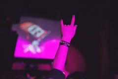 Das Mädchen am Konzert des Rockbands stockfoto