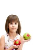 Das Mädchen mit Äpfeln Stockbilder