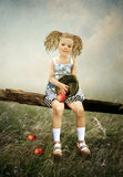 Das Mädchen mit Äpfeln Lizenzfreie Stockfotos