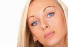 Das Mädchen mit blauen Augen Stockbild