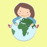 Das Mädchen mit dem braunen Haar, das einen Planeten und ein Lächeln hält lizenzfreie abbildung