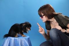 Das Mädchen mit dem Hündchen auf einem blauen Hintergrund Lizenzfreie Stockbilder