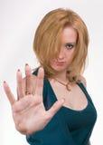 Das Mädchen mit der Hand Stockfoto