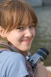 Das Mädchen mit der Kamera Stockbilder