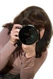 Das Mädchen mit der Kamera Stockfotografie