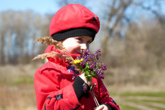 Das Mädchen mit einem Blumenstrauß von Wiesenfarben Lizenzfreie Stockfotos