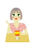 Das Mädchen mit einem Glas stock abbildung