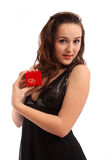 Das Mädchen mit einem Schmucksachekasten Lizenzfreie Stockbilder