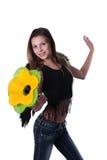 Das Mädchen mit einer Blume Lizenzfreies Stockfoto
