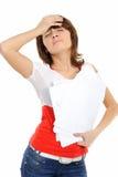Das Mädchen mit Kopfschmerzen Stockfotografie