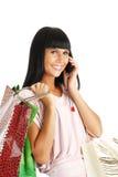 Das Mädchen mit Paketen vom System Lizenzfreies Stockfoto