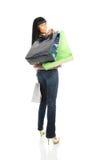 Das Mädchen mit Paketen vom System Lizenzfreie Stockbilder