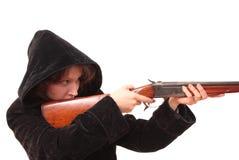 Das Mädchen mit Pistole Stockfotografie