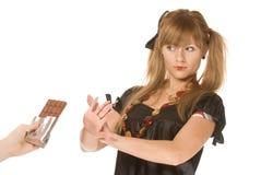 Das Mädchen mit Schokolade lizenzfreies stockbild