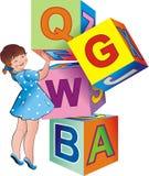 Das Mädchen mit Spielzeug cubes2 Stockfoto