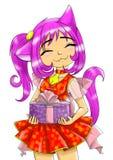 Das Mädchen-neko mit einem Geschenk Stockbilder