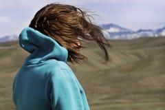 Das Mädchen passt die schöne Landschaft auf Lizenzfreie Stockfotos