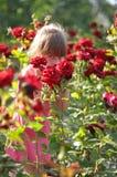 Das Mädchen riecht Rosen Stockfotografie