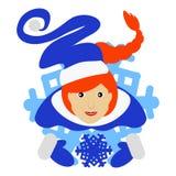 Das Mädchen rote Santa Claus in Form einer Schneeflocke eine Ikone auf weißem fone dlya die Presse, Unterhemden, T-Shirts Lizenzfreie Stockfotos