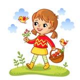 Das Mädchen sammelt Pilze in einem Korb Stockfoto