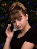 Das Mädchen und das Telefon Lizenzfreie Stockbilder