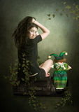Das Mädchen und der Clown Stockfotografie