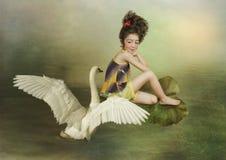 Das Mädchen und der Schwan Stockbild