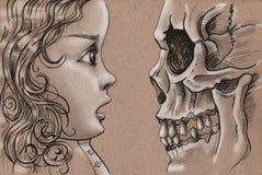 Das Mädchen und der Tod Stockfoto