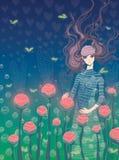 Das Mädchen und die Blumen Stockbilder