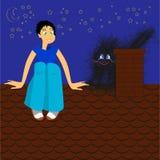 Das Mädchen und die Katze auf einem Dach Stockfotos