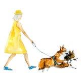 Das Mädchen und Hunde Lizenzfreie Stockfotos