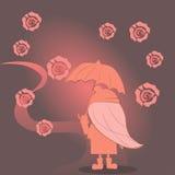 Das Mädchen unter einem Regenschirm geht entlang den Weg Lizenzfreie Stockfotografie
