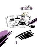 Das Mädchen, welches das Auto driweing ist Lizenzfreie Stockfotos