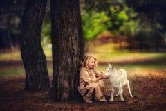 Das Mädchen zieht eine kleine Ziege ein stockfotografie