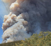Das Maschinenhaus-Feuer | 2013 | enorme Plume Of Smoke  Lizenzfreies Stockbild