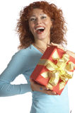 Das Mädchen mit einem Geschenk Stockbilder