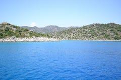 Das Meer und die Berge von der Türkei stockbild