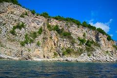 Das Meer und die Küstenlinie, Budva, Montenegro, adriatisches Meer, Medi Stockbild