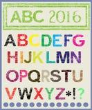 Das mehrfarbige Alphabet, das Stimmung erleichtert lizenzfreie abbildung