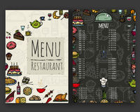 Das Menü für das Restaurant Stockfotos