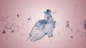 Das menschliche Herz wird gebildet, indem man Partikel spinnt stock abbildung