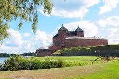 Das mittelalterliche Hame-Schloss. Hameenlinna. Finnland Stockfotografie